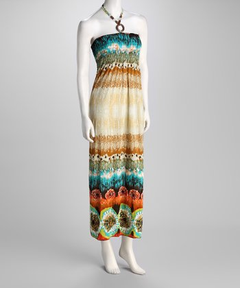 Brown Tie-Dye Halter Maxi Dress