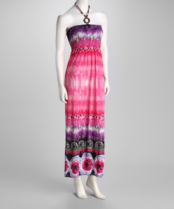 Pink Tie-Dye Halter Maxi Dress
