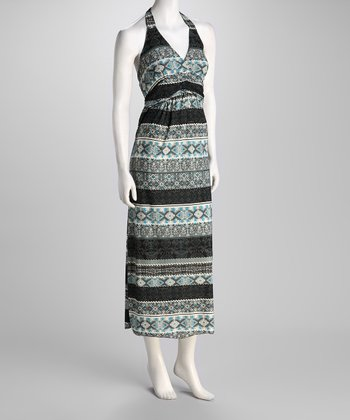 Blue Geometric Stripe Halter Maxi Dress