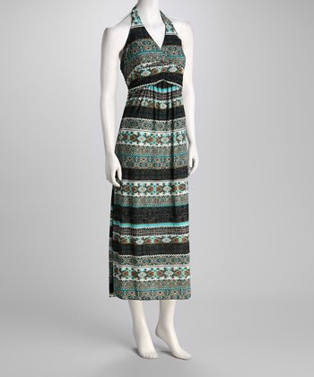 Turquoise Geometric Stripe Halter Maxi Dress
