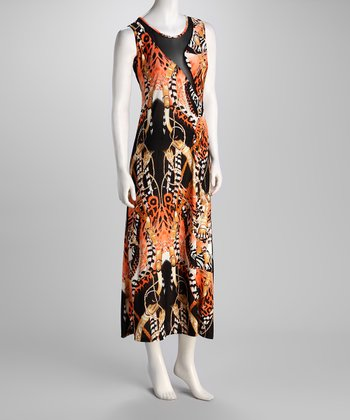 Orange Abstract Maxi Dress