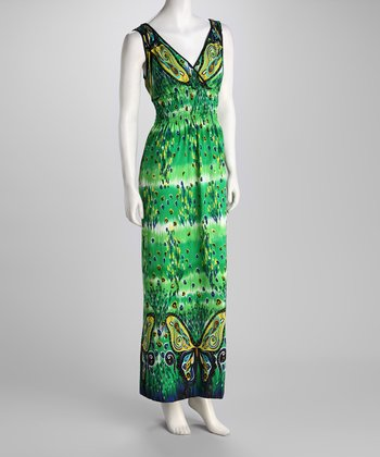 Green Butterfly X-Back Maxi Dress