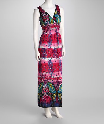 Pink Butterfly X-Back Maxi Dress