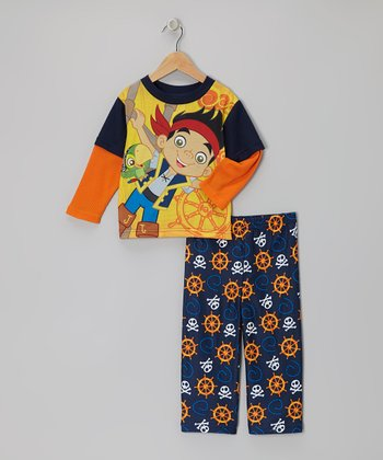 Yellow & Navy Jake The Pirate Pajama Set - Toddler