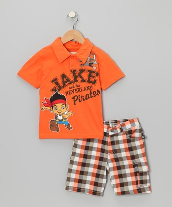 Orange 'Jake' Polo & Plaid Shorts - Toddler