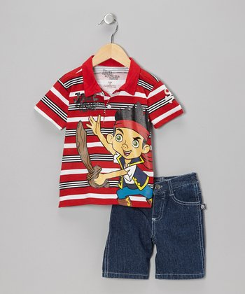 Red Stripe Polo & Denim Shorts - Toddler & Boys
