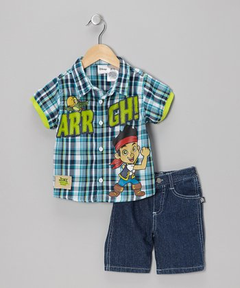 Blue & Green Plaid Button-Up & Denim Shorts - Toddler & Boys