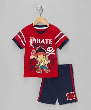 Red & Navy 'Pirate' Tee & Shorts - Toddler