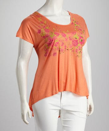 Orange Floral Plus-Size Hi-Low Top