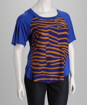 Royal Blue & Gold Raglan Top - Plus