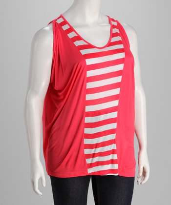 Coral & White Stripe Sleeveless Top - Plus