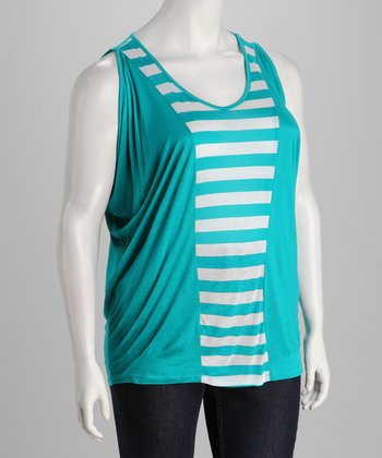 Jade & White Stripe Sleeveless Top - Plus