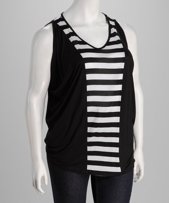 Black & White Stripe Sleeveless Top - Plus