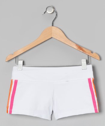 White & Fuchsia Tennis Shorts - Girls