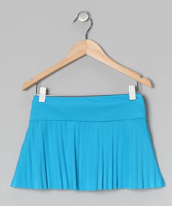 Turquoise Pleated Skirt - Girls