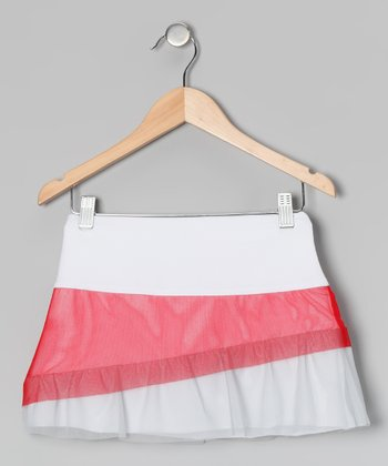 White & Red Ruffle Skort - Girls