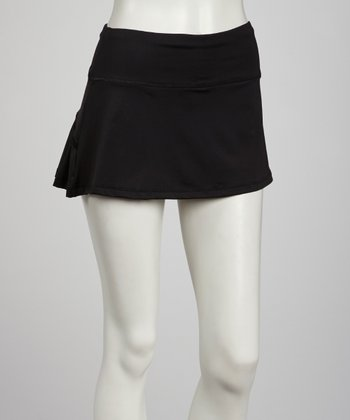 Black Back-Pleated Skort - Women