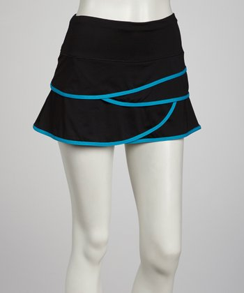 Black & Turquoise Scalloped Skort - Women