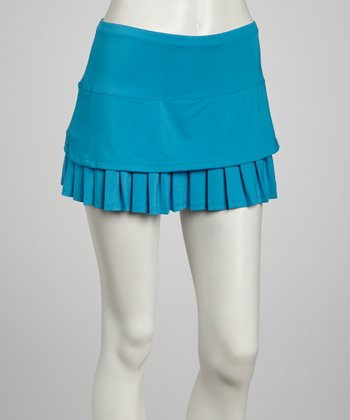 Turquoise Pleated Skort - Women
