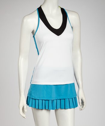 White & Turquoise Color Block Racerback Tank - Women