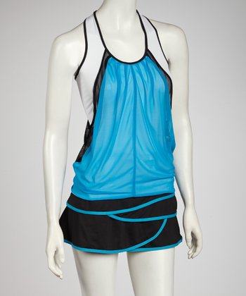 White & Turquoise Mesh Layered Color Block Tank - Women