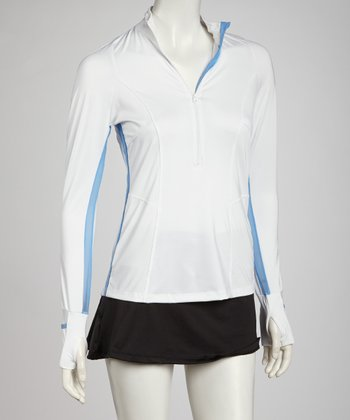 White & Periwinkle Half-Zip Mock Neck Top - Women