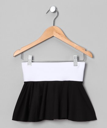 White & Black Tennis Skort - Girls