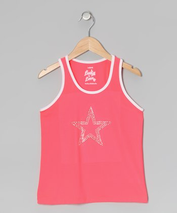 Coral Rhinestone Star Tank - Girls