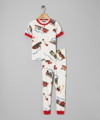 Red 'Chugga Chugga' Pajama Set - Infant, Toddler & Kids