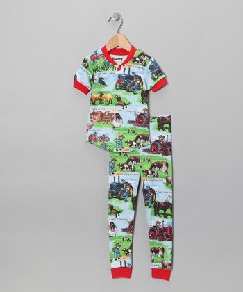 Blue On This Farm Pajama Set - Kids