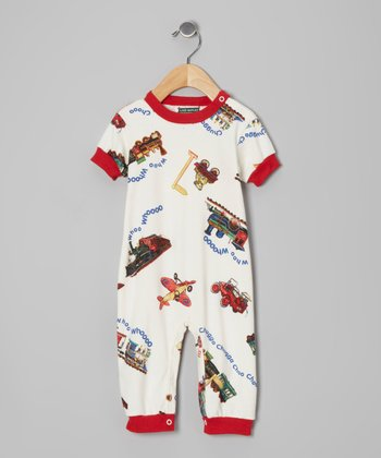 Red 'Chugga Chugga' Playsuit - Infant