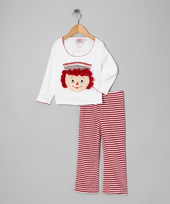 White & Red Raggedy Ann Patch Top & Pants - Infant & Toddler