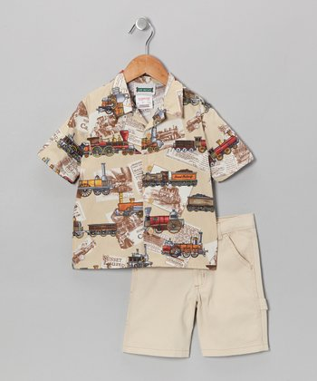 Khaki Train Camp Button-Up & Shorts - Toddler & Boys
