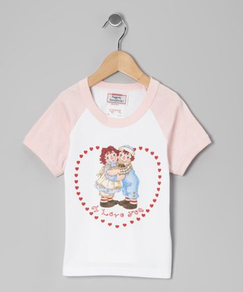 Pink Raggedy Ann 'I Love You' Raglan Tee - Girls