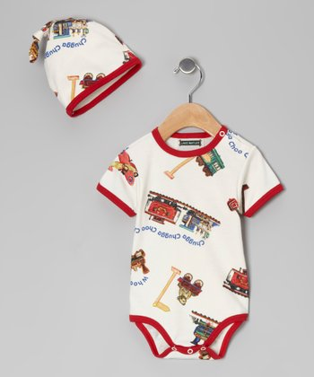 Red 'Chugga Chugga' Bodysuit & Beanie - Infant