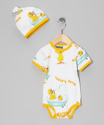 Yellow 'Splish Splash' Bodysuit & Beanie - Infant