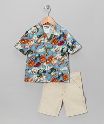 Blue Baseball Camp Button-Up & Shorts - Toddler & Boys