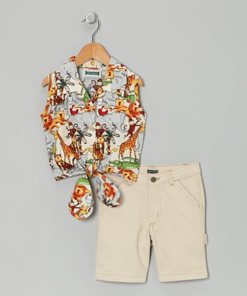 Khaki Jungle Safari Tie-Front Shirt & Shorts - Toddler & Girls
