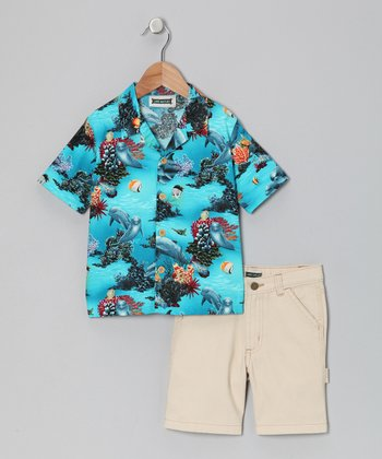 Blue Sea Life Camp Button-Up & Shorts - Boys