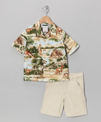Blue & Green Dinosaur Camp Button-Up & Shorts - Boys