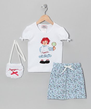 White Raggedy Ann Top Set - Girls