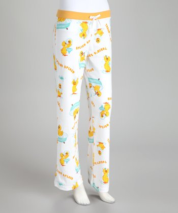 Yellow & White 'Splish Splash' Pajama Pants - Women