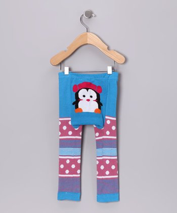 Blue & Pink Polka Dot Penguin Pants
