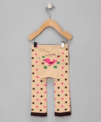 Tan Polka Dot Tweety Bird Leggings - Infant
