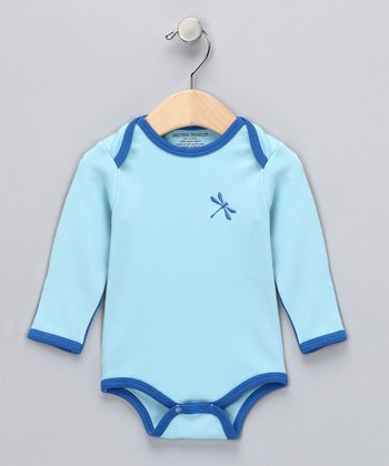 Powder Blue Dragonfly Organic Bodysuit - Infant