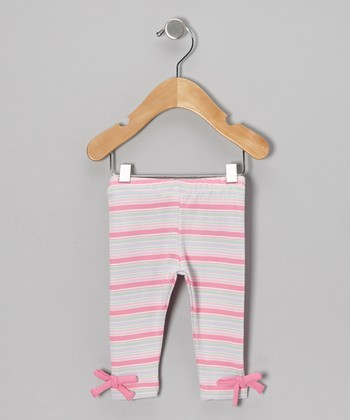Pink Stripe Bow Organic Leggings - Toddler & Girls
