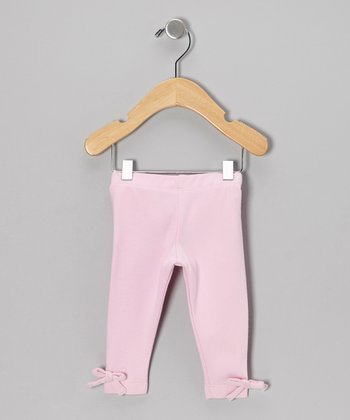 Light Pink Bow Organic Leggings - Infant, Toddler & Girls