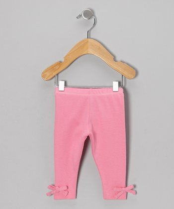 Pink Bow Organic Leggings - Girls