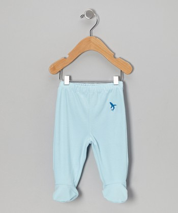 Light Blue Shark Organic Footie Pants - Infant