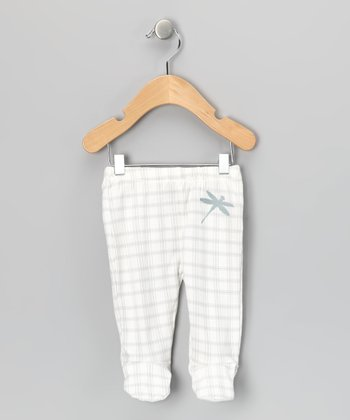 Gray Plaid Dragonfly Organic Footie Pants